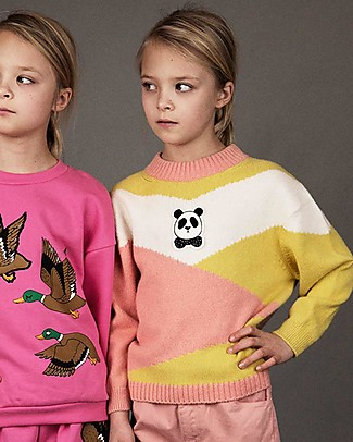 Mini Rodini Panda Knitted Pullover, Pink - Wool-Cotton blend Jumpers