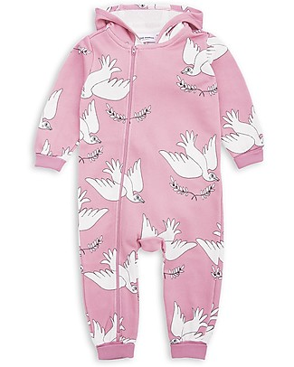Mini Rodini Peace Long Sleeves Onesie with Hood, Pink - 100% fairtrade organic cotton Rompers