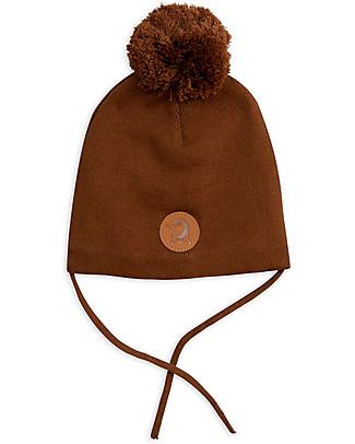 Mini Rodini Penguin Hat, Brown - 100% Organic Cotton Winter Hats