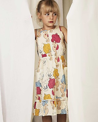 Mini Rodini Seahorse Flounce Dress, Off-White - 100% organic cotton Dresses