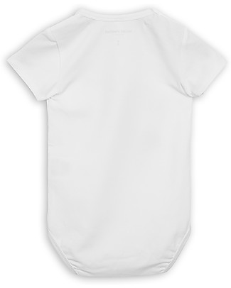Mini Rodini Short Sleeved Bodysuit, Frog, White - Stretchy organic cotton Short Sleeves Bodies