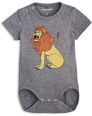 Mini Rodini Short Sleeved Bodysuit, Lion, Grey Melange - Stretchy organic cotton Short Sleeves Bodies
