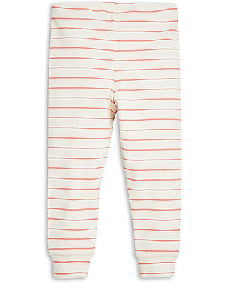 Mini Rodini Stripe Rib Leggings, Pink - Organic cotton Leggings