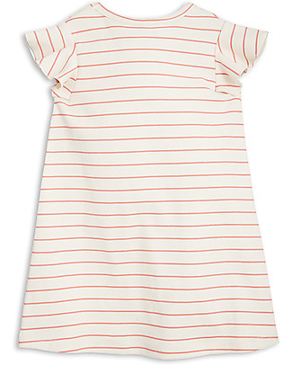 Mini Rodini Stripe Rib Wing Dress, Pink - Organic cotton Dresses