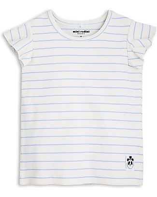 Mini Rodini Stripe Rib Wing T-Shirt, Light Blue - Organic cotton T-Shirts And Vests