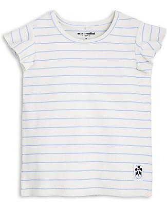 Mini Rodini Stripe Rib Wing T-Shirt, Light Blue - Organic cotton T-Shirts And Vests