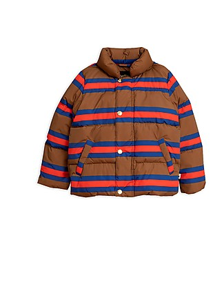 Mini Rodini Stripes Puffer Jacket, Brown - 100% Recycled Fabric, Water-Resistant Jackets