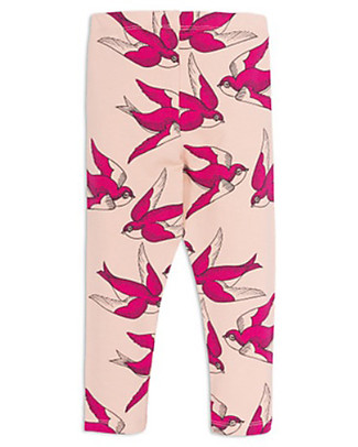 Mini Rodini Swallows Leggings, Pink - Stretchy Organic Cotton Leggings