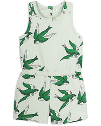 Mini Rodini Swallows Summersuit, Green - Stretchy organic cotton Short Rompers