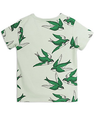 Mini Rodini Swallows T-Shirt Short Sleeves, Green - Stretchy Organic Cotton! T-Shirts And Vests