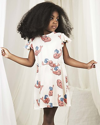 Mini Rodini Whale Dress with Short Wing Sleeves, Pink - Organic cotton Dresses