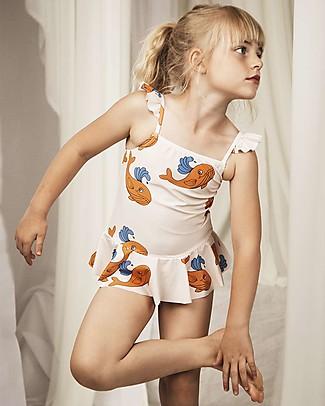 Mini Rodini Whale Skirt Swimsuit, Orange - UPF 50 +  Swimsuits