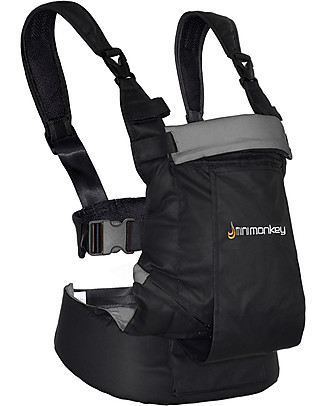 Minimonkey Baby Carrier Dynamic - Black/Grey - 4 in 1 Carrier (from birth, light and no backache!) Baby Carriers