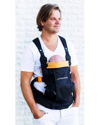 Minimonkey Baby Carrier Dynamic - Black/Orange - 4 in 1 Carrier (from birth, light and no backache!) null