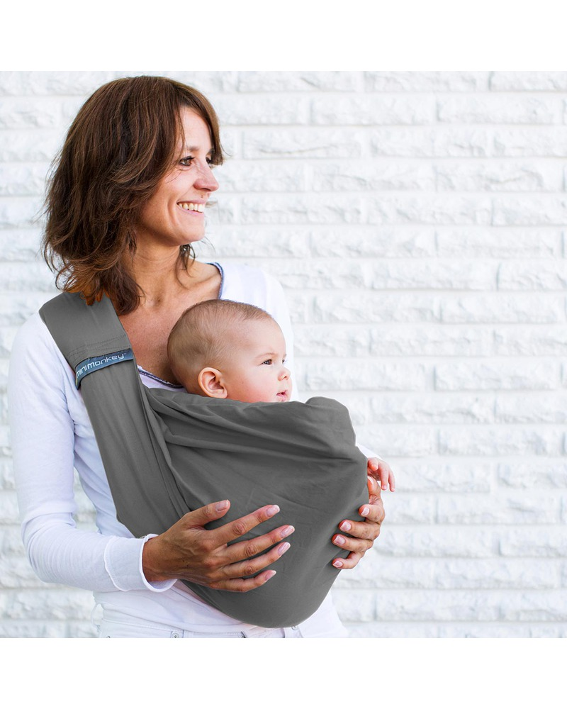 9a8ee348785 Minimonkey Baby Sling 4 in 1 - 100% Cotton - Grey unisex (bambini)