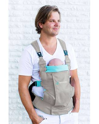 Minimonkey Dynamic Ergonomic Baby Carrier - Grey/Turquoise - 4 in 1 Carrier - Water Resistant Baby Carriers
