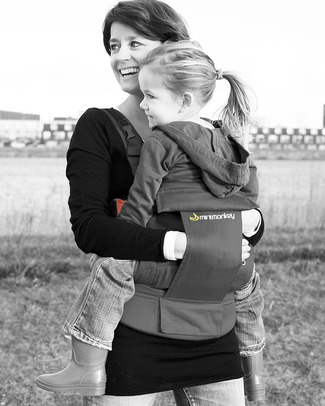 Minimonkey Ergonomic Baby Carrier - Grey - 4 in 1 Carrier (from birth, light and no backache!) Baby Carriers