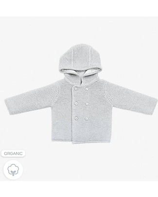 Mori Knitted Baby Coat, Grey - 100% Organic Cotton Coats