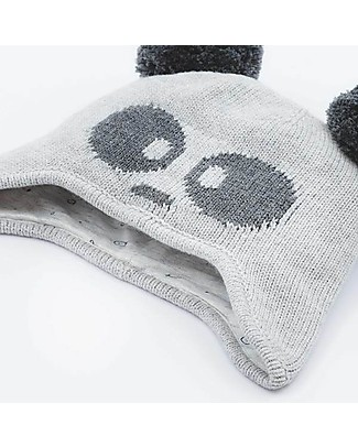 Mori Knitted Panda Hat, White and Black - 100% organic cotton Hats