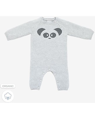 Mori Knitted Romper, Panda - 100% organic cotton Rompers