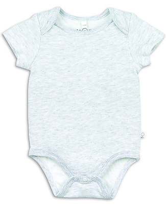 Mori Short-Sleeved Bodysuit with Envelope Neck, Grey - Bamboo and organic cotton Short Sleeves Bodies