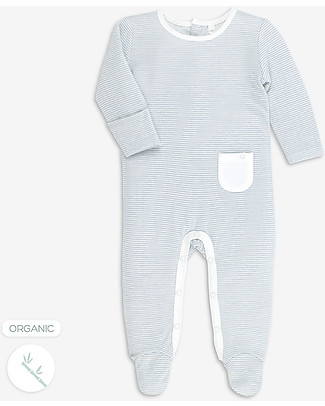 Mori Sleepsuit Back Opening, Blue Stripe - Bamboo and organic cotton Pyjamas
