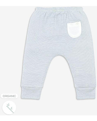 Mori Yoga Baby Pants, White & Blue - Bamboo and organic cotton Trousers