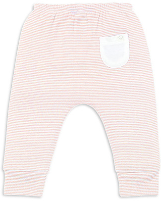 Mori Yoga Baby Pants, White & Blush - Bamboo and organic cotton Trousers