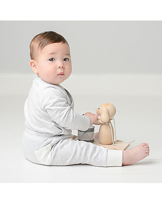 Mori Yoga Baby Pants, White & Grey - Bamboo and organic cotton Trousers