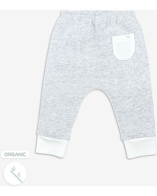 Mori Yoga Baby Pants, White & Grey - Bamboo and organic cotton Trousers