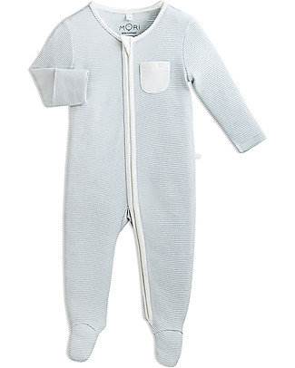 Mori Zip-Up Sleepsuit, Blue Stripes - Bamboo and organic cotton Pyjamas