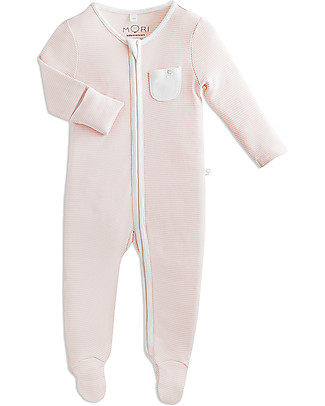 Mori Zip-Up Sleepsuit, Blush Stripes - Bamboo and organic cotton Pyjamas