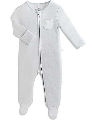 Mori Zip-Up Sleepsuit, Grey - Bamboo and organic cotton Pyjamas