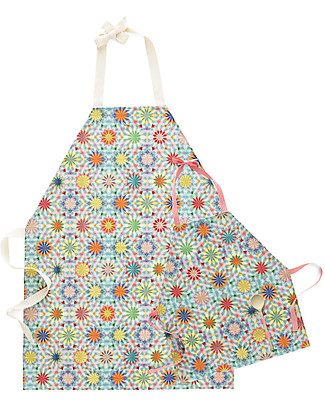 "Motomo Gift Set Mum and Kid Aprons ""Kaleidoscope"", Pink - Organic cotton and wood Toy Kitchens & Play Food"