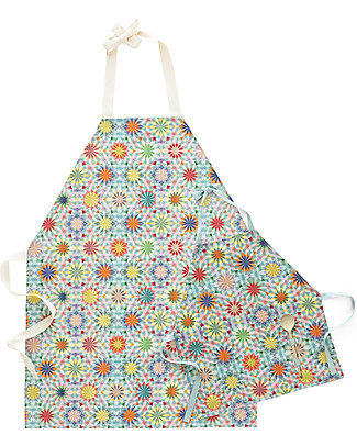 "Motomo Gift Set Mum and Kid Aprons ""Kaleidoscope"", Turquoise - Organic cotton and wood Toy Kitchens & Play Food"