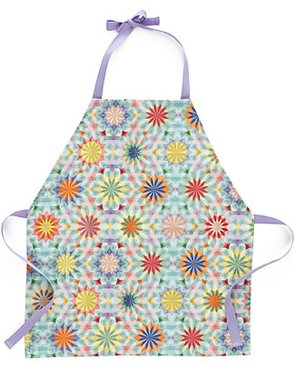 "Motomo Toy Set Kids Apron and Spoon ""Kaleidoscope"", Lavender Ties - Organic cotton and natural wood Toy Kitchens & Play Food"