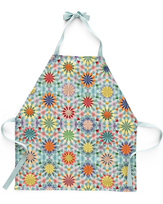 "Motomo Toy Set Kids Apron and Spoon ""Kaleidoscope"", Turquoise Ties - Organic cotton and natural wood Toy Kitchens & Play Food"