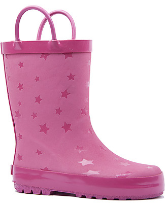 Mr.Tiggle Rubber Rain Boot with Cotton Lining - Pink Star Wellies