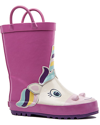 Mr.Tiggle Rubber Rain Boot with Cotton Lining - Pink Unicorn Wellies