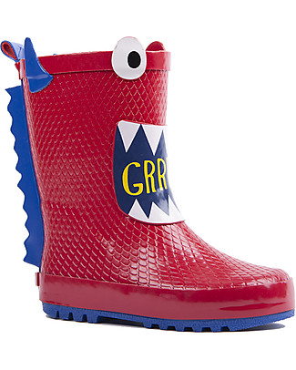 Mr.Tiggle Rubber Rain Boot with Cotton Lining - Red Monster Wellies