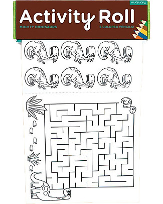 Mudpuppy Activity Roll, Mighty Dinosaurs - Recycled Paper! Colouring Activities