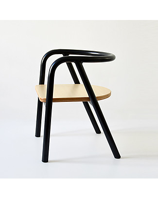 Mum and Dad Factory Metal and Wood Chair for Kids, Black Chairs