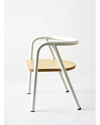 Mum and Dad Factory Metal and Wood Chair for Kids, White Chairs