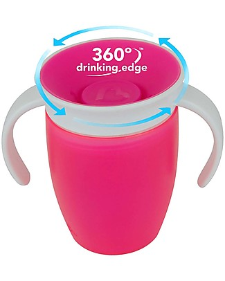 Munchkin Trainer Cup Miracle® 360°, 210 ml - Pink with handles Cups & Beakers