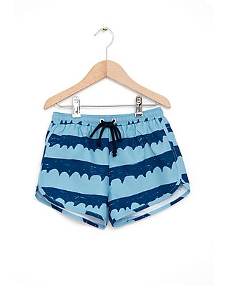 Nadadelazos Boy Swimpants, Sea Waves in Blue Swimming Trunks