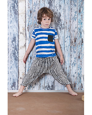 Nadadelazos Children T-Shirt with Pocket, Ivory/Blue Stripes - 100% organic cotton jersey T-Shirts And Vests