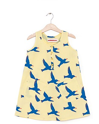 Nadadelazos Girl Dress, Flock of Seagull - 100% organic cotton voile Dresses