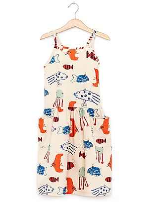 Nadadelazos Girl Dress, Mediterranean Fishes - 100% organic cotton voile Dresses