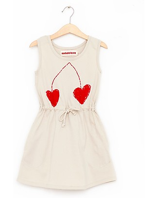 Nadadelazos Girl T-shirt Dress, Cherry - 100% organic cotton jersey Dresses