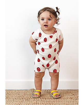 Nadadelazos Ladybug Romper - 100% organic cotton Short Sleeves Bodies
